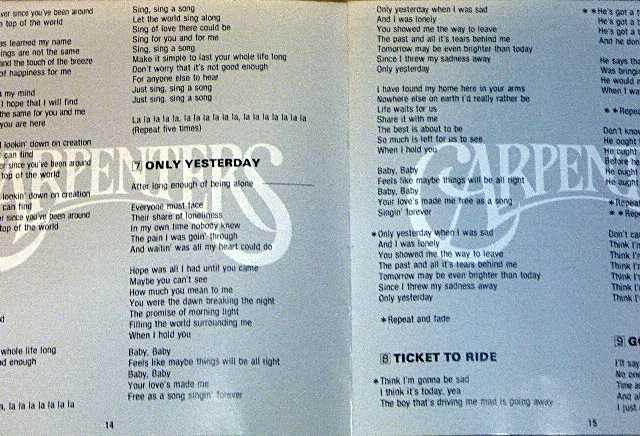 カーペンターズ歌詞カード2