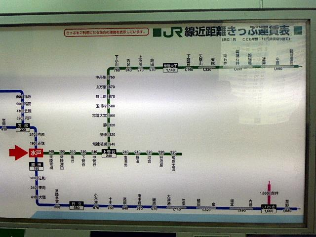 水戸駅路線別料金表2