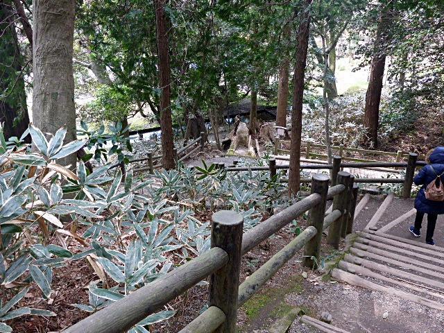 吐玉泉へ降りる階段