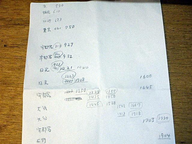 手書きの旅程表