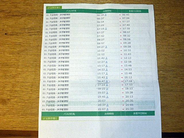 大谷から宇都宮駅行きのバス時刻表
