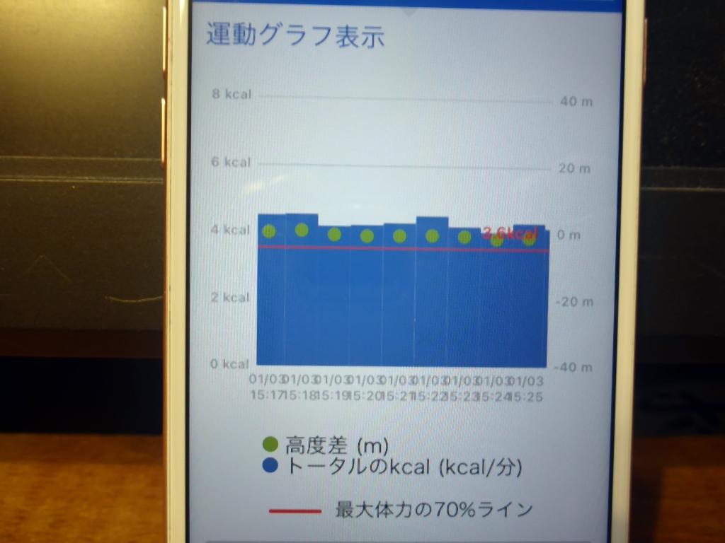 運動グラフ表示フラット地面